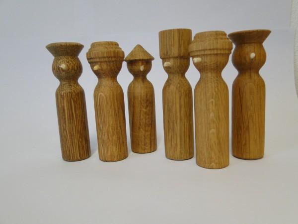 Holz-Nasenfiguren Set 7 (Männer mit Kopfbedeckung)