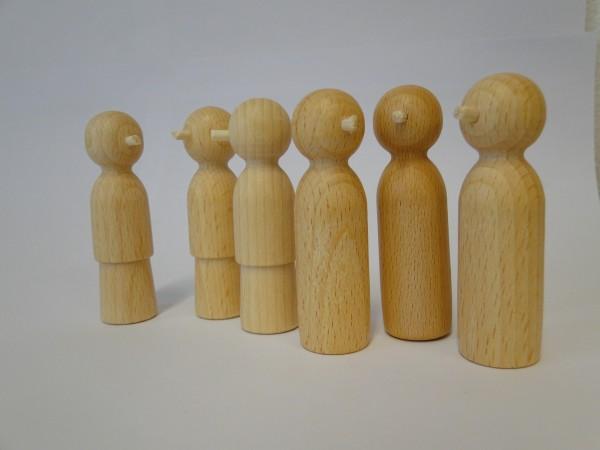 Holz-Nasenfiguren Set 6 (Erwachsene)